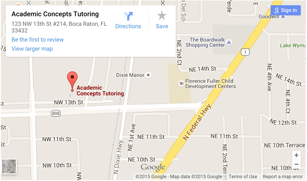 google map of location for academic concepts boca raton
